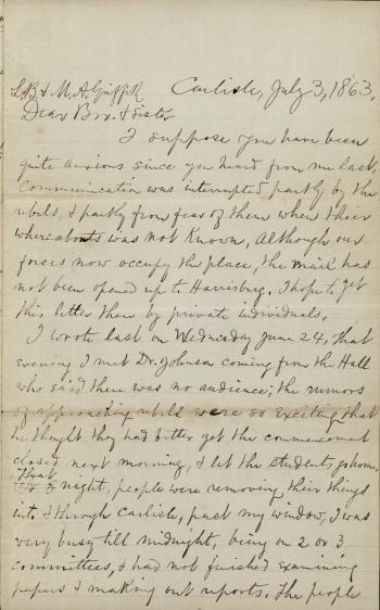 Letter from Thomas M. Griffith to His Siblings