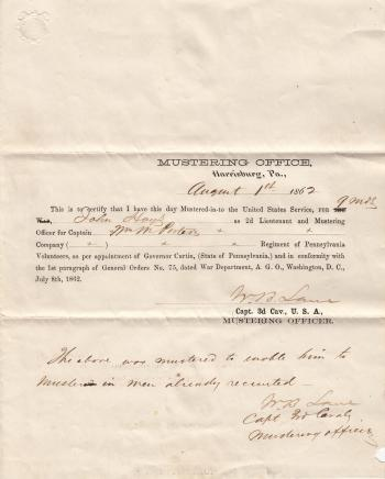 Mustering in Papers for Lt. John Hays II