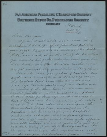 Letter from Conway W. Hillman to James H. Morgan