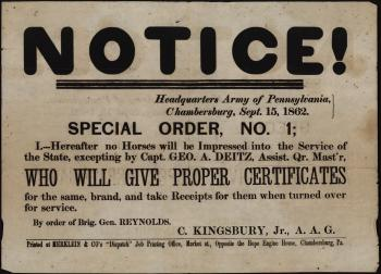 "Broadside of ""Special Order, No. 1"""