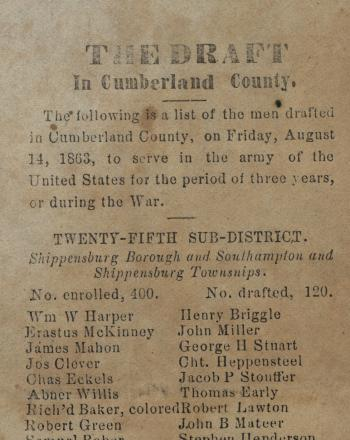 "Broadside and Newspaper Clippings of ""The Draft in Cumberland County"""