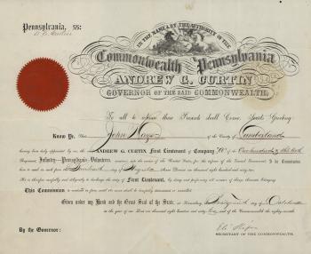 John Hays II Commission, First Lieutenant of Volunteers