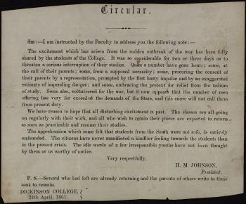 Circular Letter from President Herman M. Johnson
