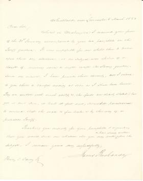 Letter from James Buchanan to Henry Carey