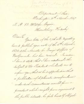 Letter from James Buchanan to R. B. McAfee