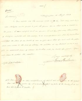 Letter from James Buchanan to Joseph Gales and William Seaton