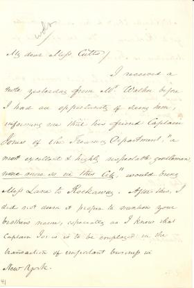 Letter from James Buchanan to Miss Cutts