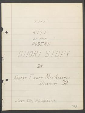 """The Rise of the Modern Short Story,"" by Robert E. MacAlarney"