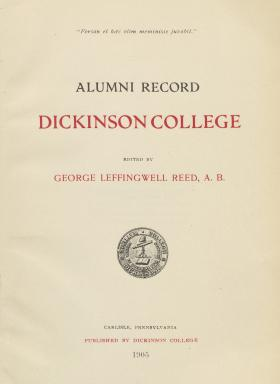 """Alumni Record: Dickinson College,"" edited by George Reed"