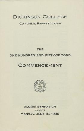 1935 Commencement Program
