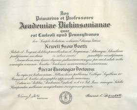Honorary Doctor of Sacred Theology Diploma - Newell Booth
