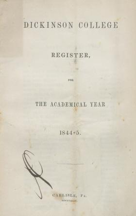 Dickinson College Register for the Academical Year, 1844-45