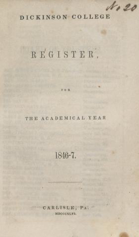 Dickinson College Register for the Academical Year, 1846-47