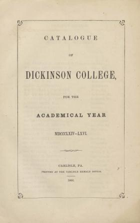 Catalogue of Dickinson College for the Academical Year, 1865-66