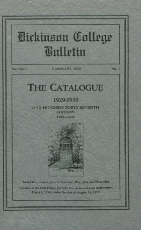 Catalogue of Dickinson College, Annual Session, 1929-30