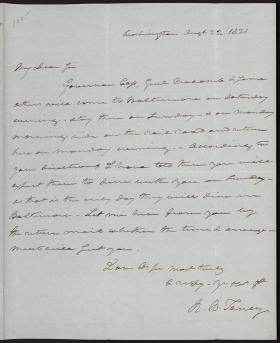 Letter from Roger B. Taney to Robert Oliver