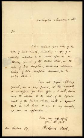 Letter from Richard Rush to James Brobson