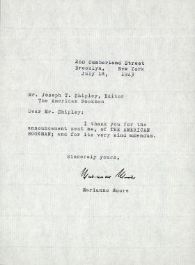 Letter from Marianne Moore to Joseph Shipley