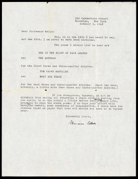Letter from Marianne Moore to Professor Wells
