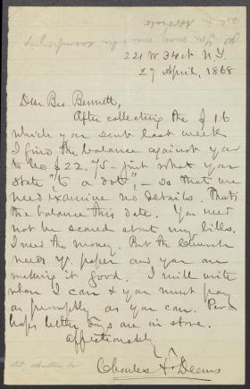 Letter from Charles Deems to Mr. Bennett