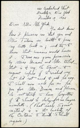 Letter from Marianne Moore to Miss McGlade