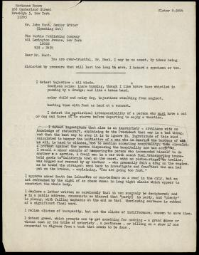 Letter from Marianne Moore to John Hunt