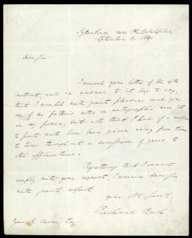 Letter from Richard Rush to George Moore