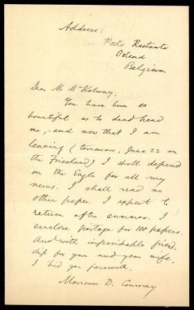 Letter from Moncure Conway to St. Clair M'Kelway