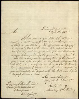 Letter from Roger B. Taney to Benjamin Bonsall