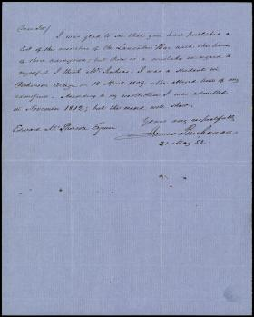 Letter from James Buchanan to Edward McPherson