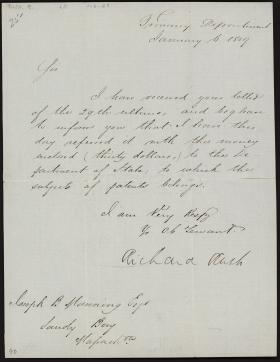 Letter from Richard Rush to Joseph Manning
