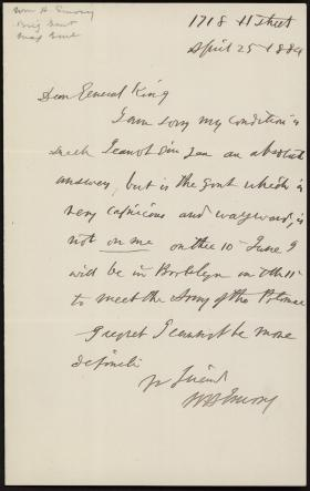 Letter from William Emory to Horatio Collins King
