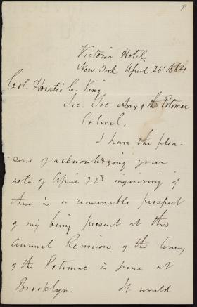 Letter from Francis Fessenden to Horatio Collins King