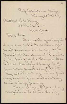 Letter from William Harvey to Horatio Collins King