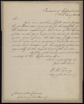 Letter from Roger B. Taney to the District of New Haven Collector of Customs