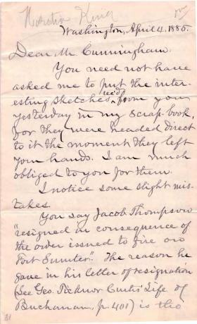 Letter from Horatio King to John Cunningham