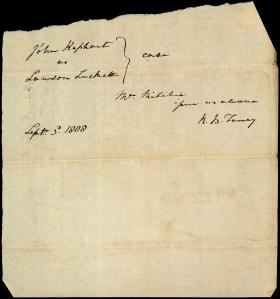 Note from Roger B. Taney to Unknown Recipient