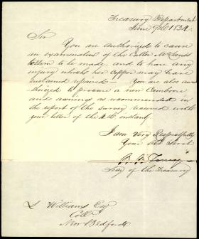 Letter from Roger B. Taney to S. Williams