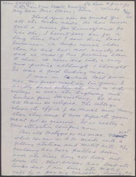 Letter from Josephine Meredith to Josephine Davis