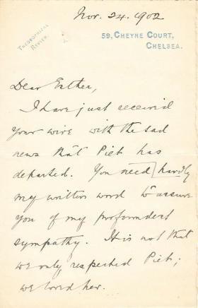 Letter from George Mead to Esther Windust