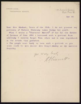 Letter from Alfred Sinnett to Esther Windust
