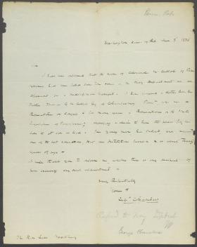 Letter from George Chambers to Levi Woodbury