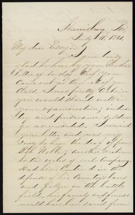 Letter from David Hastings to Edgar Hastings