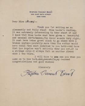 Letter from Stephen Vincent Benet to Miss Adlard