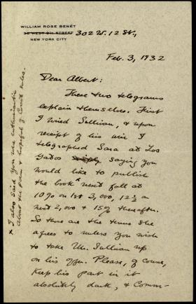 "Letter from William Rose Benet to ""Albert"""