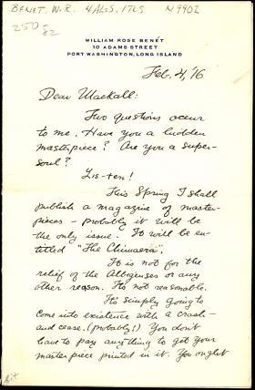 Letter from William Benét to Lawton Mackall