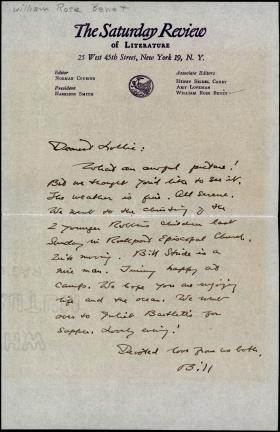 Letter from William Rose Benét to Laura Benét