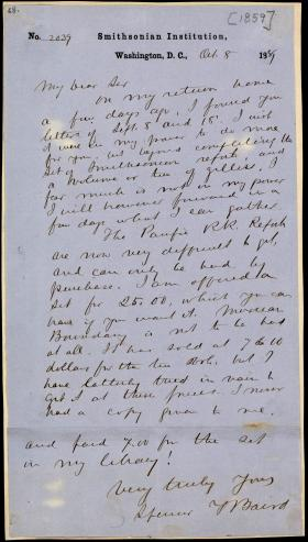 Letter from Spencer Baird to Osmond Tiffany