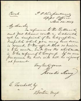Letter from Horatio King to Ginery Twichell
