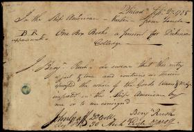 Customs Declaration and Receipt Form Signed by Benjamin Rush